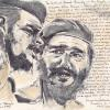 "Che Guevara and Fidel Castro, 8.5"" x 11"", mixed media on paper"