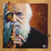 "Charles Darwin, 12"" x 12"", acrylic on pine board"