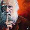 "Charles Darwin No. 2, 16"" x 16"", acrylic on canvas"