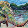 "Elephant Trunk's Up, 15"" x 30"", acrylic on canvas"
