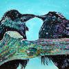 "Raven Pair in the Snow, 20"" x 30"", acrylic on canvas"
