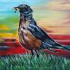 "Okotoks Robin, 10"" x 20"", acrylic on canvas"