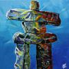 "Inuksuk on Blue, 16"" x 16"", acrylic on canvas"