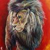 "Griffen the Lion, 30"" x 30"", acrylic on canvas"