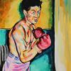 "The Pugilist, 12"" x 18"", acrylic on canvas board"