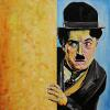 "Charlie Chaplin, 24"" x 24"", acrylic on canvas"