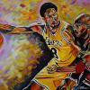 "Kobe Bryant and Michael Jordan, 24"" x 36"", acrylic on canvas"