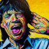"Mick Jagger, 16"" x 16"", acrylic on canvas"