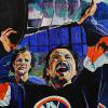 "Bryan Trottier, 24"" x 48"", acrylic on canvas, painted live at the 2016 Alzheimer's Face Off"