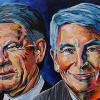 "Rick George and Dee Parkinson-Marcoux - Suncor Legends, 24"" x 36"", acrylic on canvas"