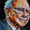 "Warren Buffett, 24"" x 48"", acrylic on canvas"