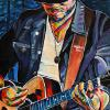"Brett Kissel, 18"" x 36"", acrylic on canvas, painted live at Brett Wilson's 2016 Garden Party in Calgary"