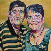 "Gerald and Shirley Jacobs, 16"" x 16"", acrylic on canvas"