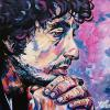 "Pensive Bob Dylan, 16"" x 20"", acrylic on canvas"