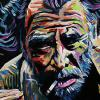 "Charles Bukowski, 10"" x 20"", acrylic on canvas"