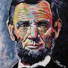 "Abraham Lincoln, 16"" x 16"", acrylic on canvas"