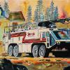 "Syncrude Fire Truck No. 9, 18"" x 24"", acrylic on canvas"