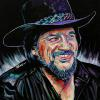 "Waylon Jennings, 24"" x 24"", acrylic on canvas"