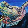 "Sea Turtle, 24"" x 36"", acrylic on canvas"
