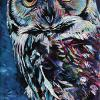 "Owl, 10"" x 20"", acrylic on canvas"