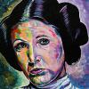 "Carrie Fisher as Princess Leia, 16"" x 16"", acrylic on canvas"