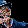 "Leonard Cohen No. 2, 18"" x 36"", acrylic on canvas"
