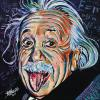 "Albert Einstein with his tongue sticking out, 16"" x 16"", acrylic on canvas"