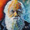 "Charles Darwin, 20"" x 20"", acrylic on canvas"
