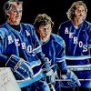 "Gordie, Mark and Marty Howe, 36"" x 48"" acrylic on canvas - painted live at the 2017 Gordie Howe C.A.R.E.S. Pro-Am Luncheon in Calgary"