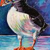 "The Puffin, 12"" x 24"", acrylic on canvas"
