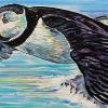 "Soaring Puffin, 12"" x 24"", acrylic on canvas"
