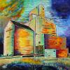 "Kamsack Elevator, 24"" x 24"", acrylic on canvas"