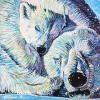 "Sleeping Polar Bears, 16"" x 16"", acrylic on canvas"
