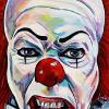 "Tim Curry as Pennywise, 18"" x 36"", acrylic on canvas"