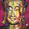 "Preahpout (Buddha in Khmer), 23.5"" x 21.5"", acrylic on canvas - painted in a small village near Siem Reap, Cambodia"