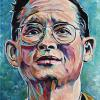 "Bhumibol Adulyadej - Rama IX - former King of Thailand, 11"" x 14"", acrylic on canvas"
