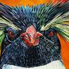"Northern Rockhopper Penguin, 15"" x 30"", acrylic on canvas"