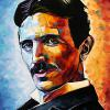 "NIkola Tesla, 16"" x 20"", acrylic on canvas"