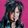 "Nikki Sixx, 16"" x 16"", acrylic on canvas"