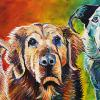 "Molly, Max and Blu, 18"" x 36"", acrylic on canvas"