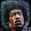 "Jimi Hendrix, 30"" x 30"", acrylic on canvas"