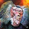 "Baboon, 20"" x 20"", acrylic on canvas"