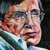 "Stephen Hawking, 20"" x 30"", acrylic on canvas"