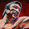 "George Chuvalo, 10"" x 20"", acrylic on canvas"