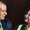 "Kiran's Dad and Mom, 18"" x 36"", acrylic on canvas"