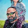 "Jason and Paisley Flett, 18"" x 36"", acrylic on canvas"