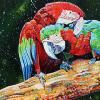 "Macaws in love, 20"" x 30"", acrylic on canvas"