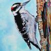 "Downey Woodpecker, 14"" x 18"", acrylic on canvas"