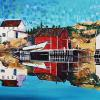 "Newfoundland Outport, 18"" x 36"", acrylic on canvas"