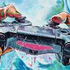 "PS 4 Controller, 12"" x 24"", acrylic on canvas"